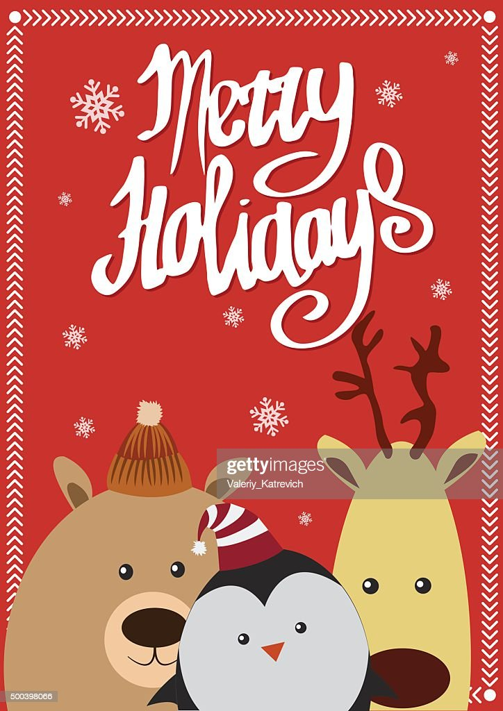 Merry holidays card with animals. Vector illustration