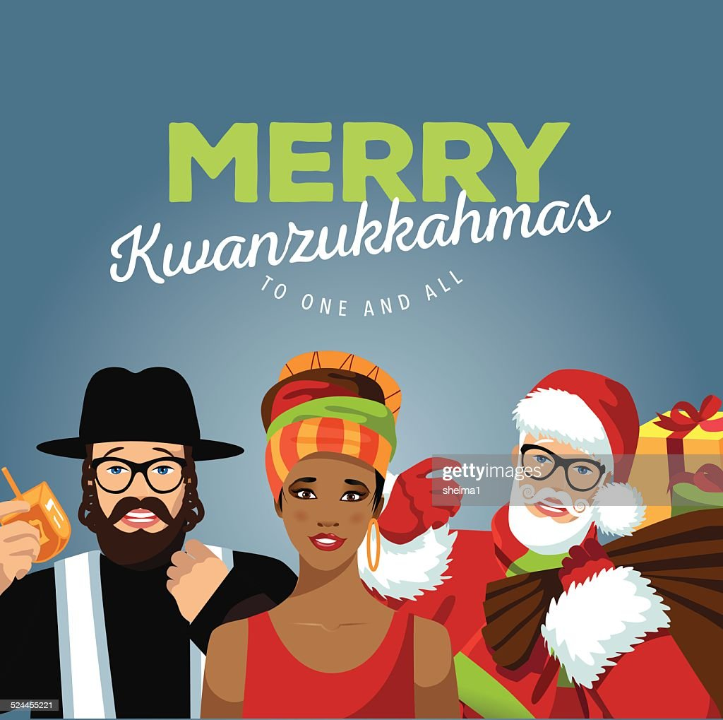 Merry Kwanzukkahmas with Rabbi, Santa and African woman