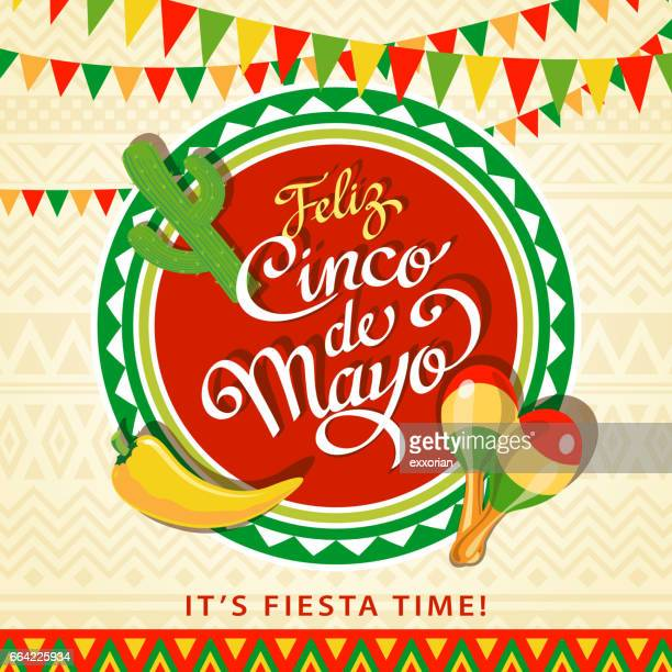 merry may fifth - mexican culture stock illustrations