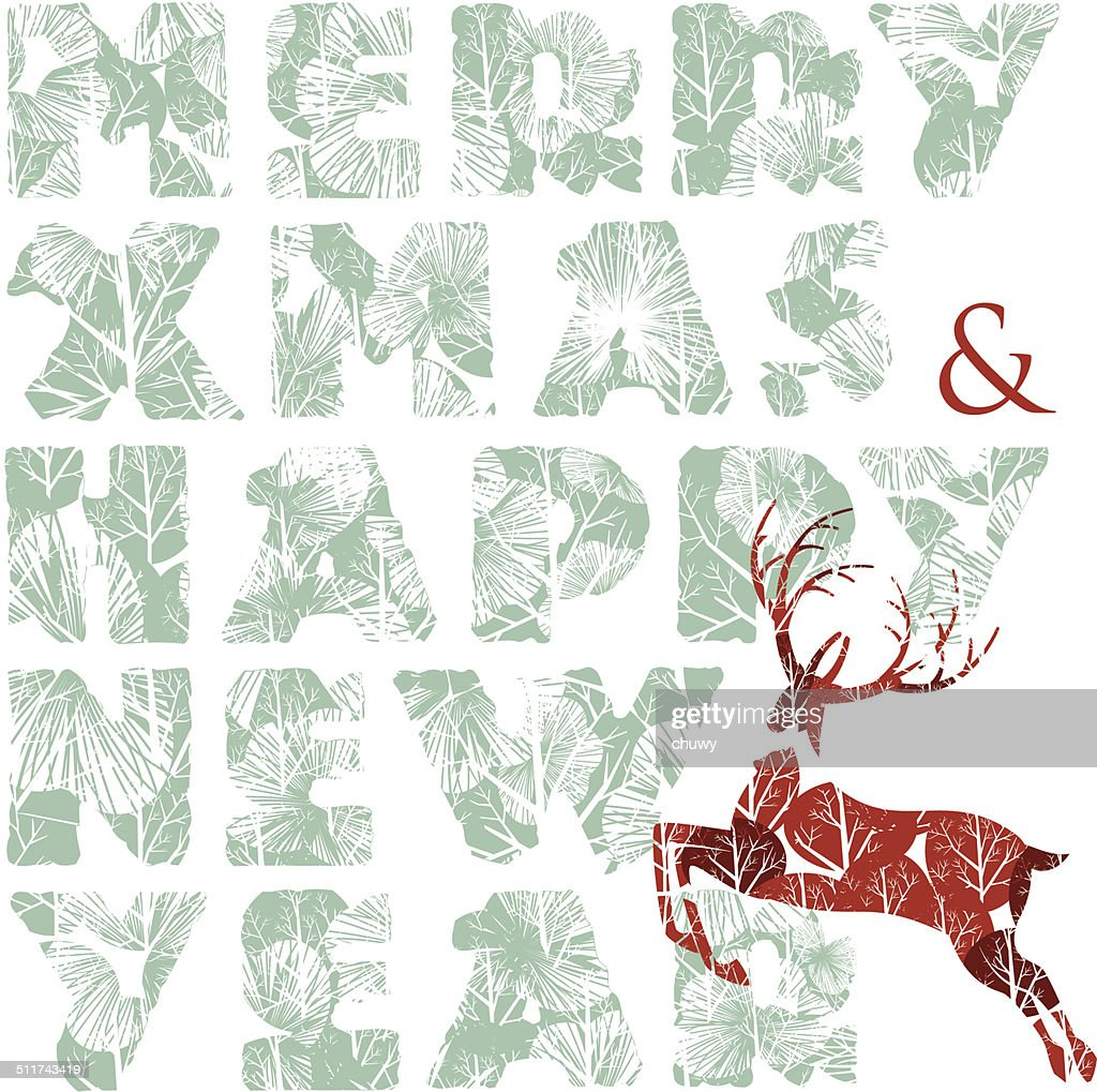 Merry xmas happy new year reindeer greeting card vector art getty merry xmas happy new year reindeer greeting card vector art m4hsunfo