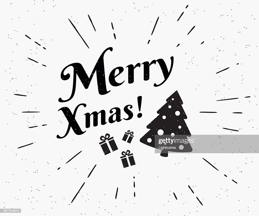 Merry Xmas Vintage Black And White Illustration For Christmas