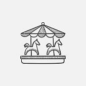 Merry-go-round with horses sketch icon