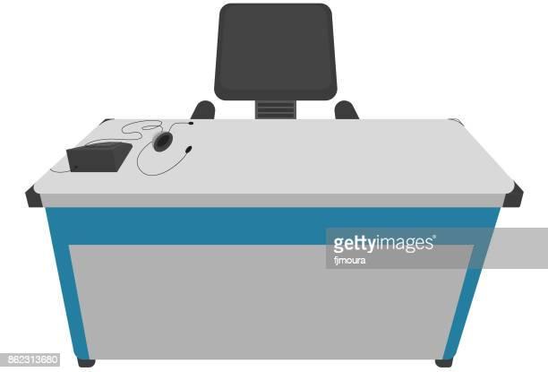 ilustrações, clipart, desenhos animados e ícones de mesa de escritório - mesa mobília