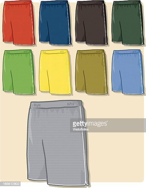 ilustraciones, imágenes clip art, dibujos animados e iconos de stock de pantalón corto de práctica de malla - educacion fisica