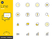 Message and basic line icons collection, editable strokes. For mobile concepts and web apps. Vector illustration, clean flat design