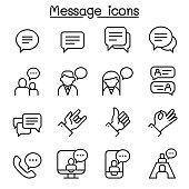 Message, Chat, discussion icon set in thin line style