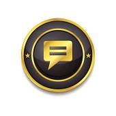 Message Circular Vector Golden Black Web Icon Button