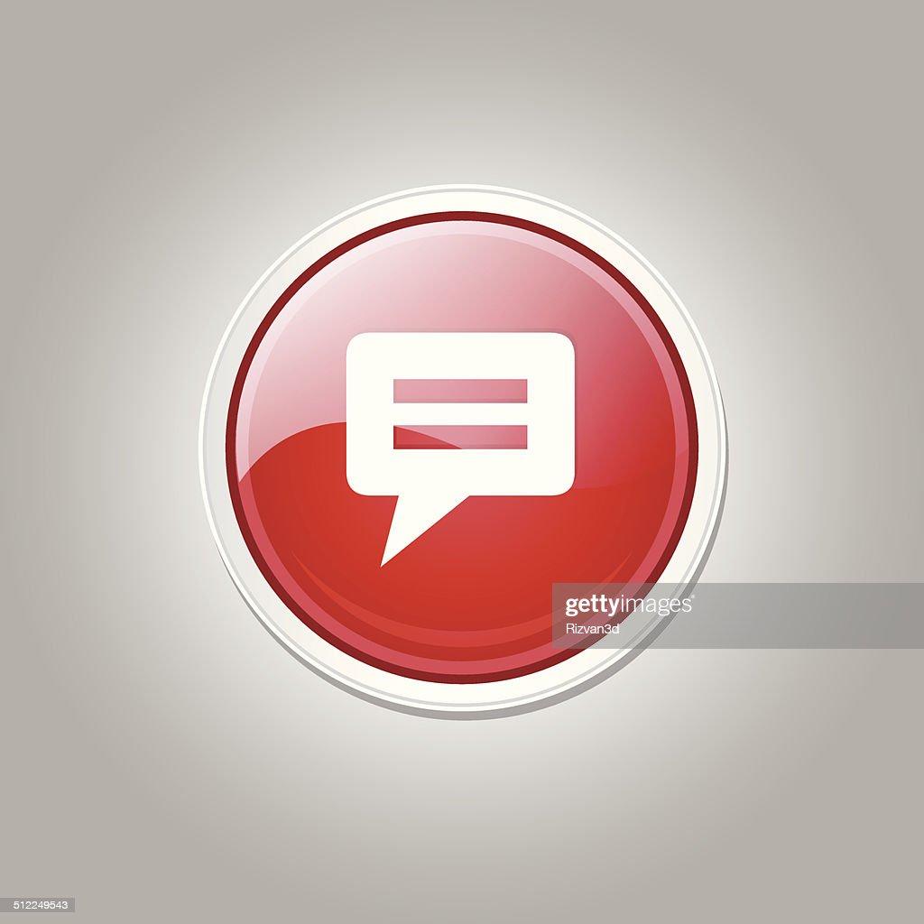 Message Circular Vector Red Web Icon Button