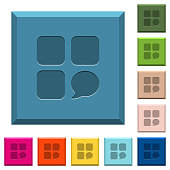 Message component engraved icons on edged square buttons