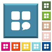 Message component white icons on edged square buttons