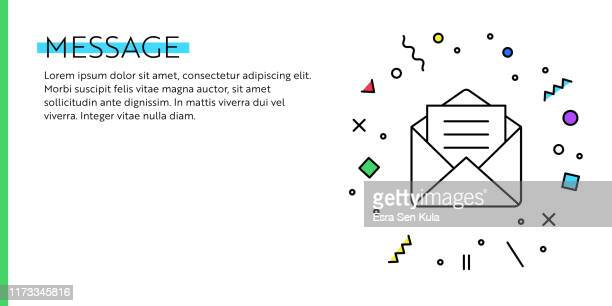 message concept. geometric retro and geometric style web banner and poster concept with mail icon. - newsletter stock illustrations