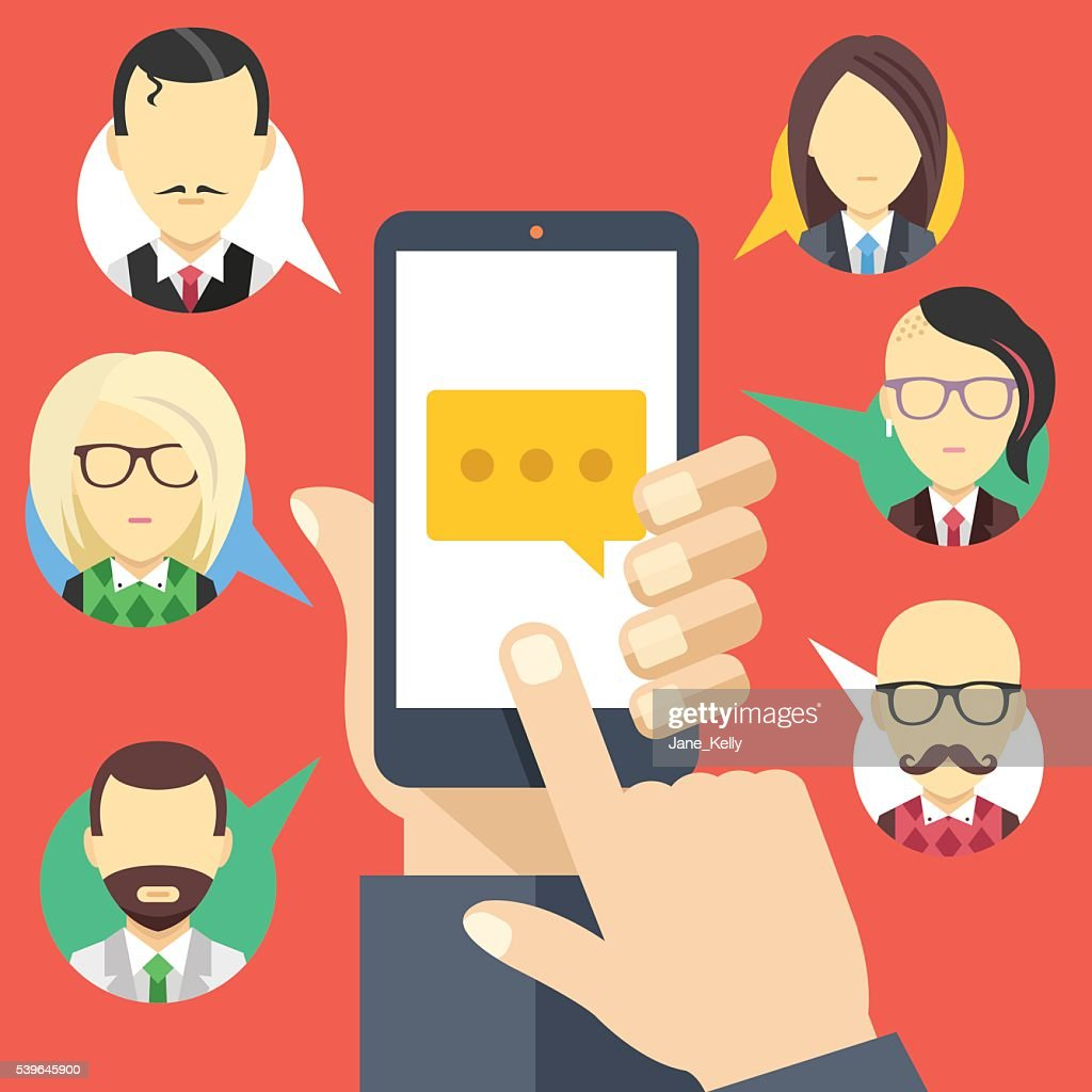 Message icon on smartphone screen, people avatars. Chat, instant messaging