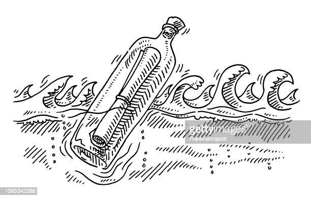 Message In A Bottle Floating In Ocean Drawing