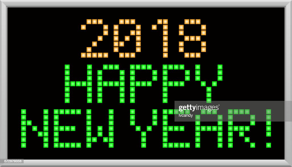 led message is happy new year 2018 vector art