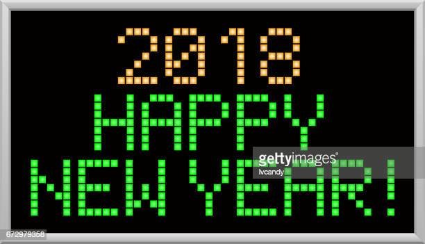"led message is ""happy new year 2018"" - pastry lattice stock illustrations, clip art, cartoons, & icons"