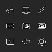 message , monitor , cutter , battery , click , casette , play ,youtube , left ,arrow , stop , eps icons set vector