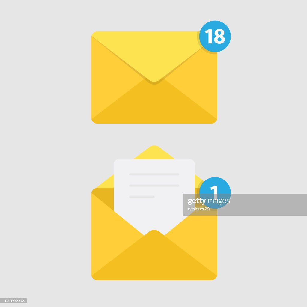 Message Notification Isolated on White Background and Mail Icon. : Stock Illustration