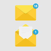 Message Notification Isolated on White Background and Mail Icon.