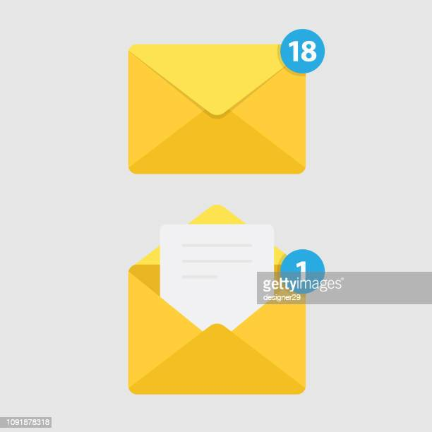 message notification isolated on white background and mail icon. - e mail inbox stock illustrations