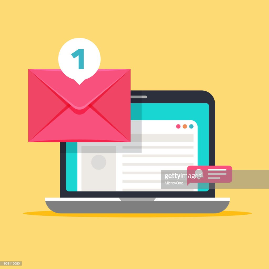 Message on computer screen. Mailing vector concept with envelope and laptop