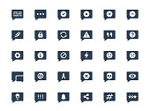 Message or notification icon set in glyph style