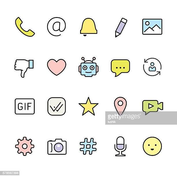 message pack - outline color vector icons - thumbs down stock illustrations