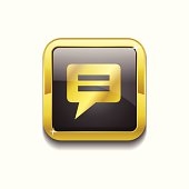 Message Square Vector Golden Black Web Icon Button