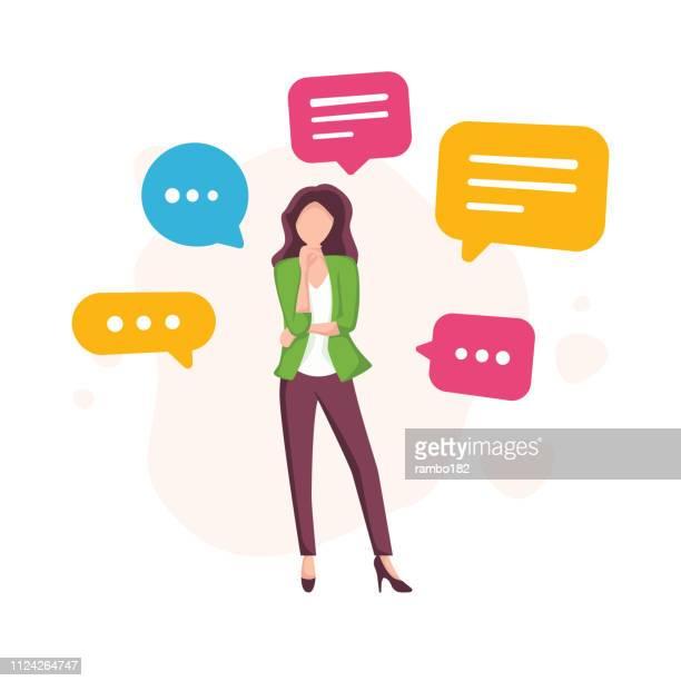 先進的なビジネスの女性と現代のデジタル通信概念をメッセージングします。吹き出し。チームワーク。 - send点のイラスト素材/クリップアート素材/マンガ素材/アイコン素材