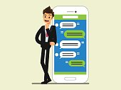 Messaging service }Businessman stand near  smartphone ,. Business concept cartoon illustration