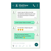 Messenger App window template. Chatting and messaging. Social network concept. Realistic vector isolatedchat page
