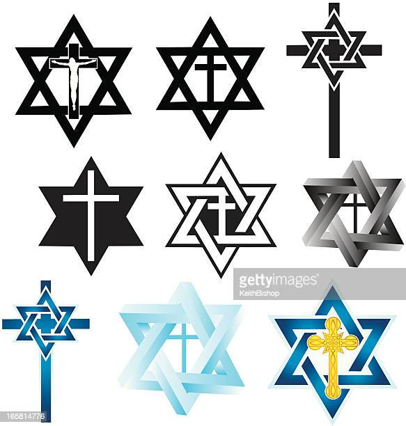 Messianic Judaism Symbols Star Of David Religious Cross Vector Art