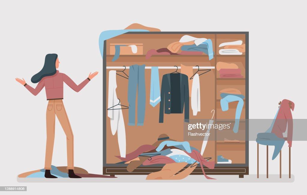 Messy closet, dressing home room interior with cartoon woman : stock illustration