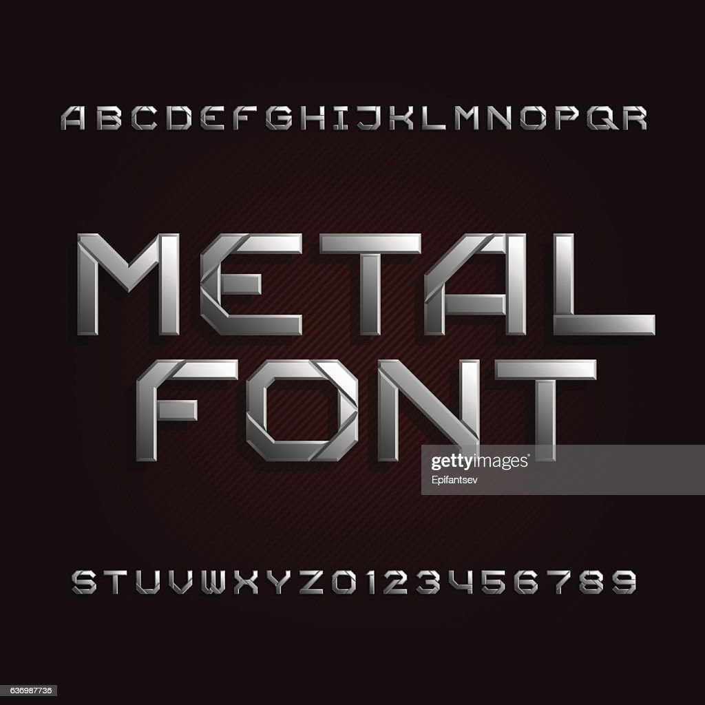 Metal alphabet font. Chrome effect letters.