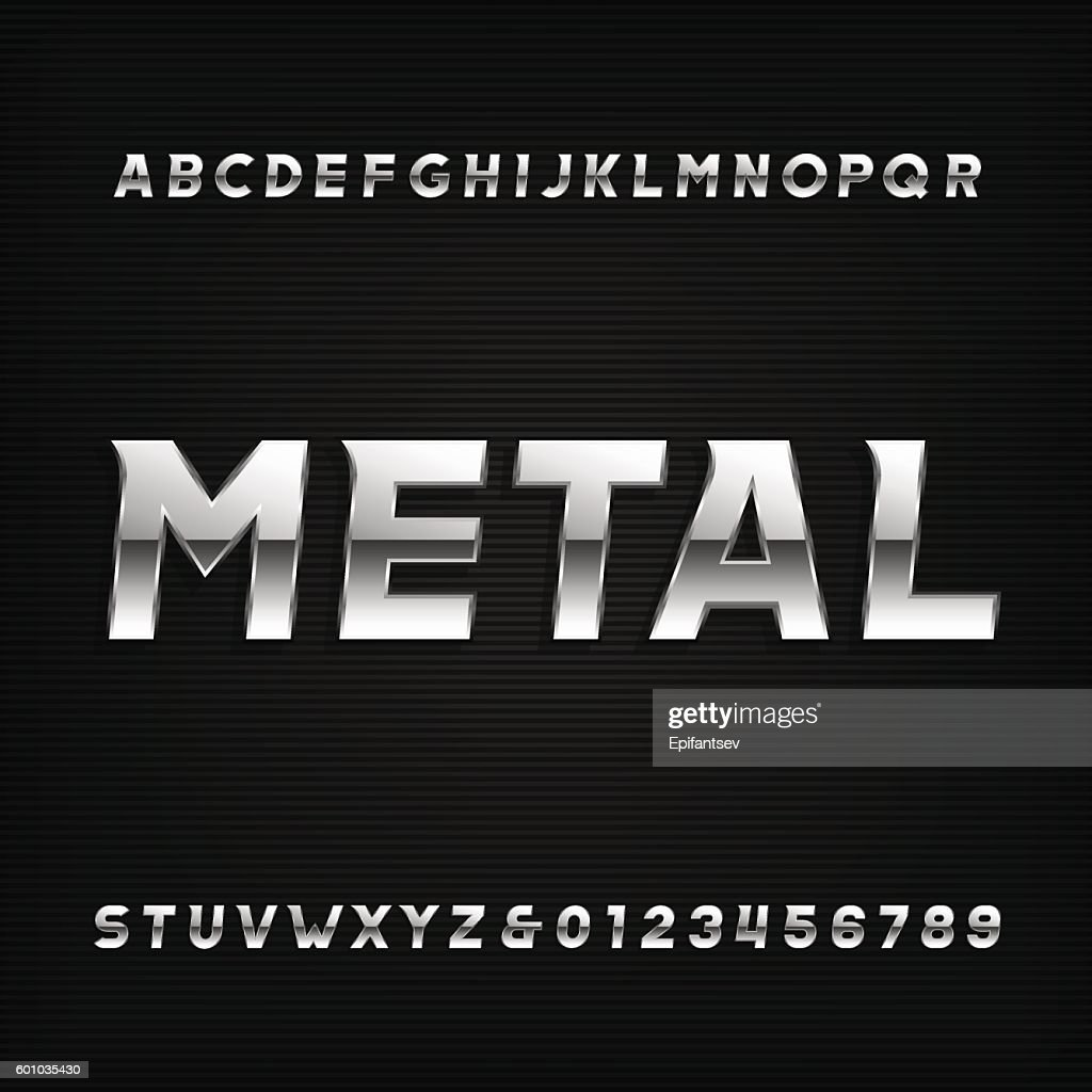 Metal alphabet font. Chrome effect oblique letters and numbers.