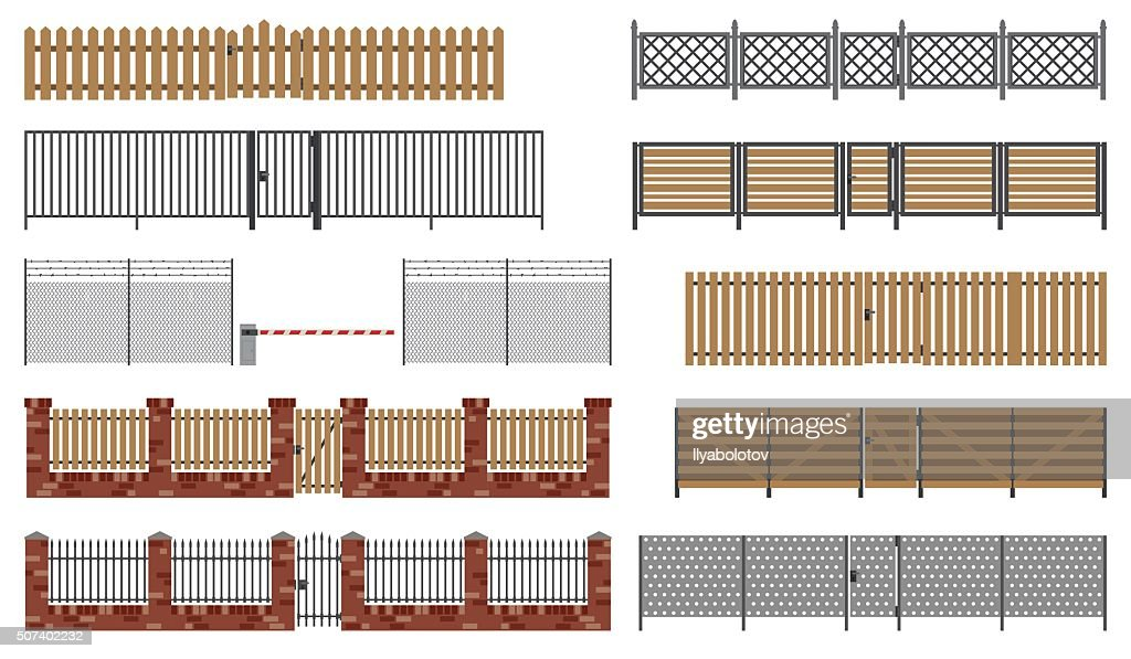 Metal and wooden fences and gates.
