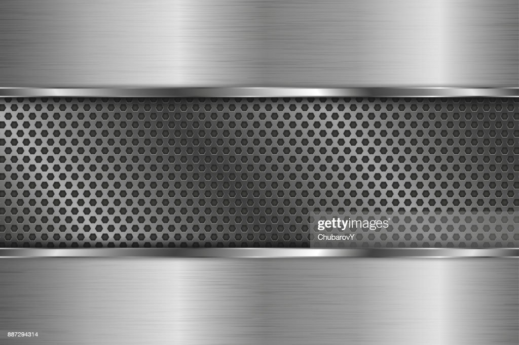 Metal background with perforated center