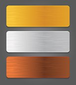 Metal button icons. Gold, silver, bronze app button.
