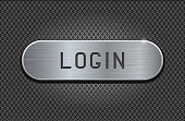 Metal button LOGIN. Brushed steel oval plate on iron perforated background. With diamond shape holes