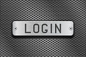 LOGIN metal button plate. On metal perforated background