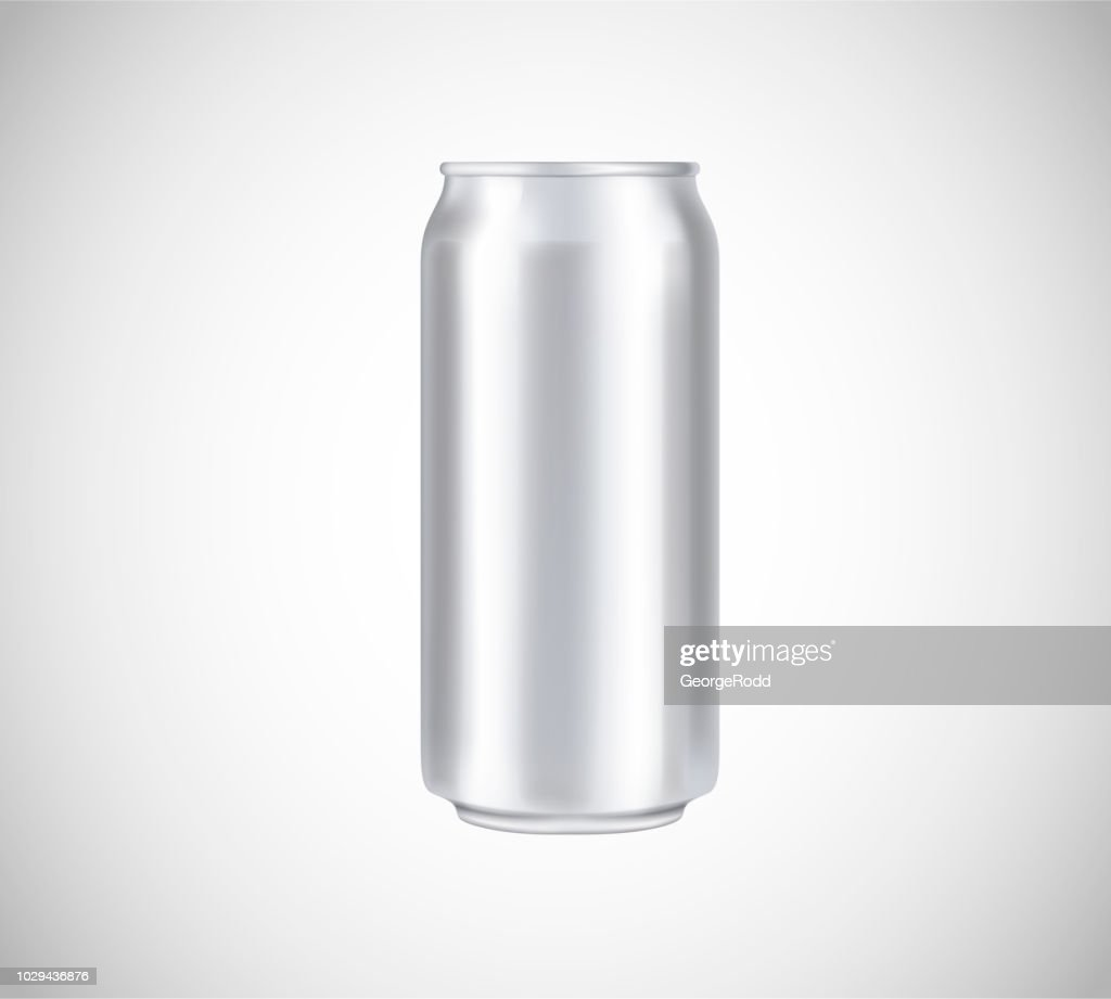 Metal can front view. Can vector visual 500 ml. For beer, lager, alcohol, soft drinks, soda advertising.
