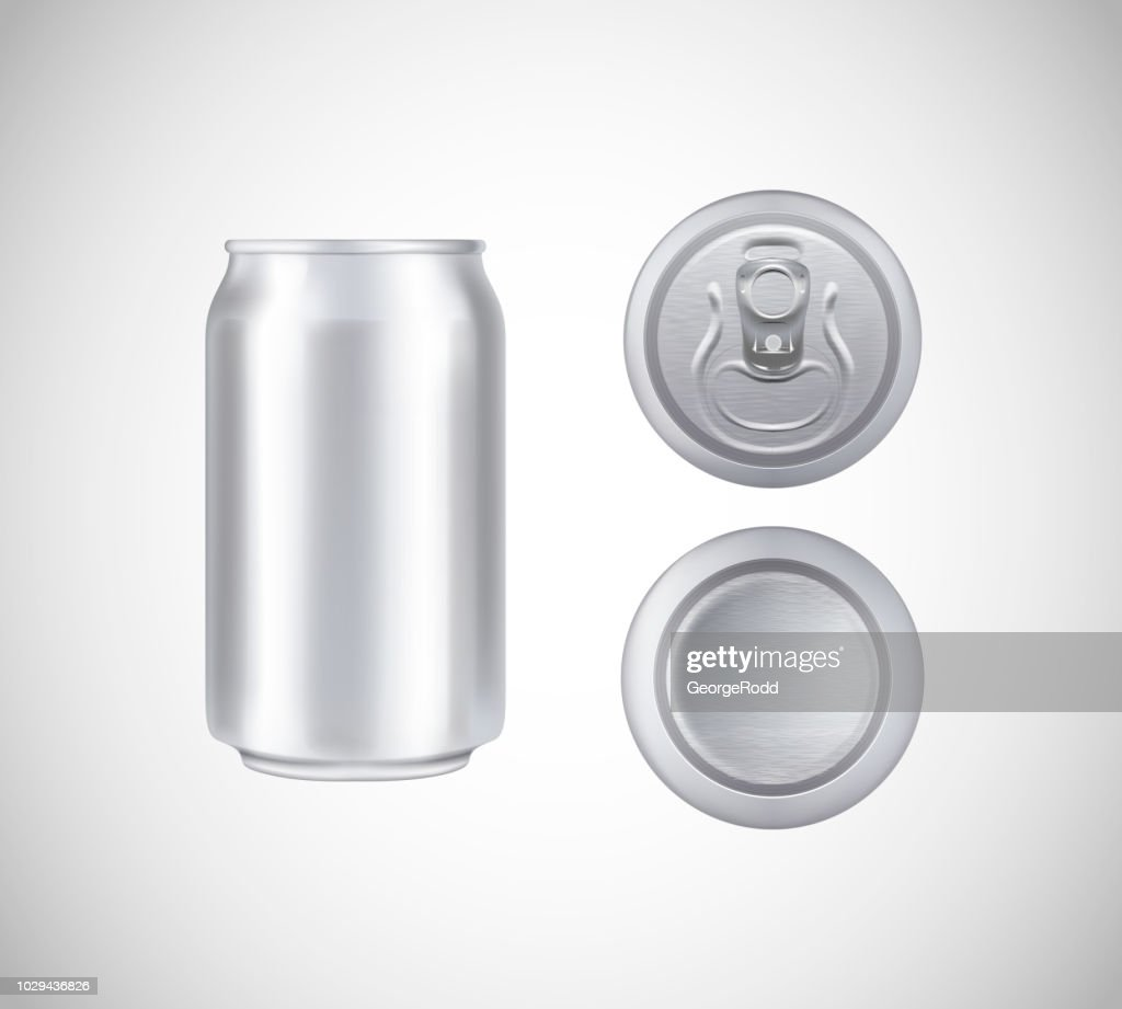 Metal can top, front, bottom view. Can vector visual 330 ml. For beer, lager, alcohol, soft drinks, soda advertising.