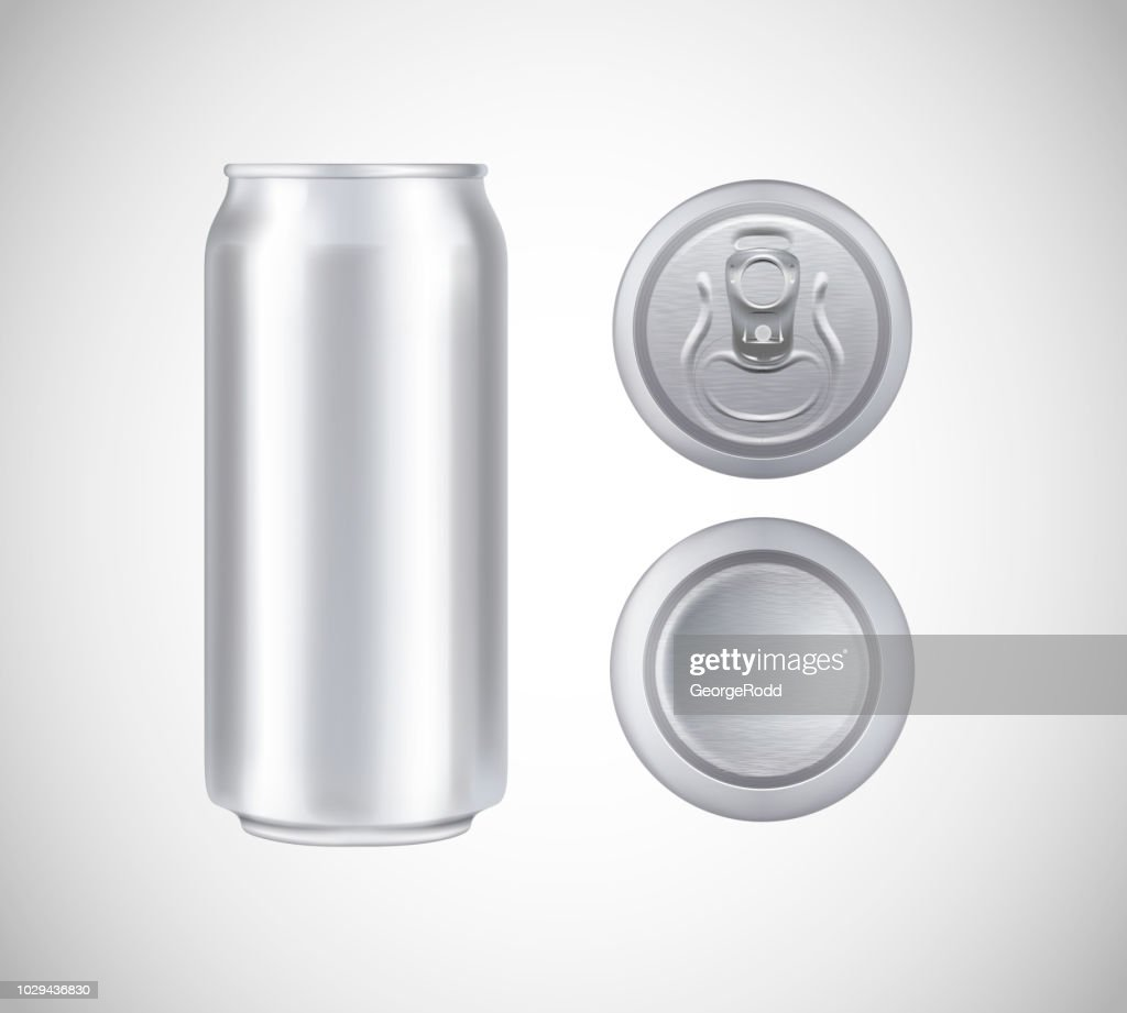 Metal can top, front, bottom view. Can vector visual 500 ml. For beer, lager, alcohol, soft drinks, soda advertising.