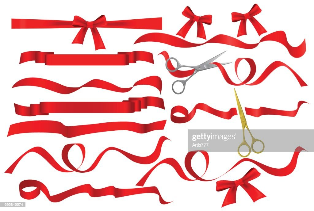 Metal chrome and golden scissors cutting red silk ribbon. Realistic opening ceremony symbols Tapes ribbons and scissors set. Grand opening inauguration event public ceremony.