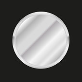 Metal circle Button or plate. Vector illustration.