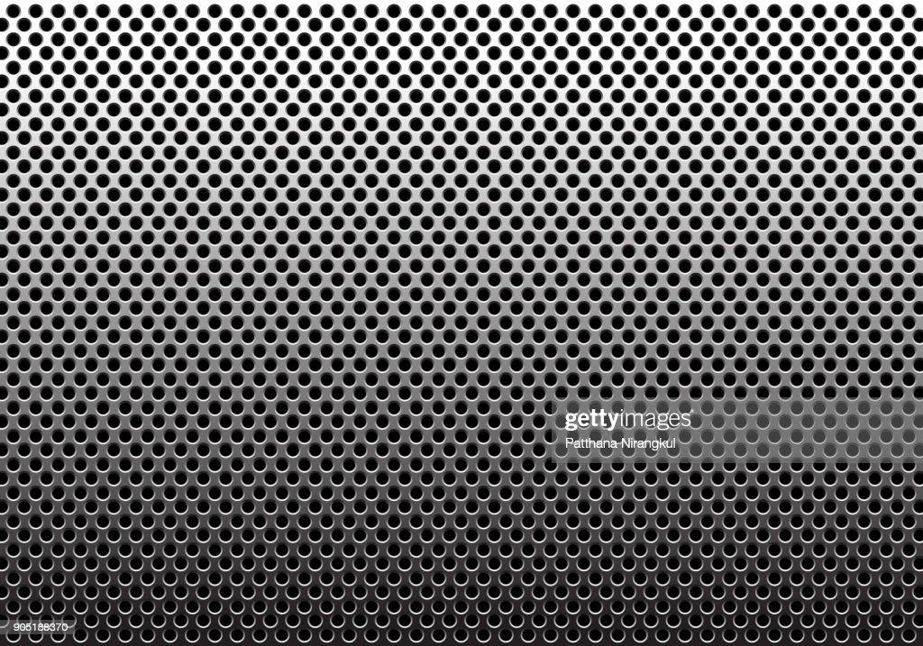 Metal circle mesh pattern gradient background texture vector illustration.
