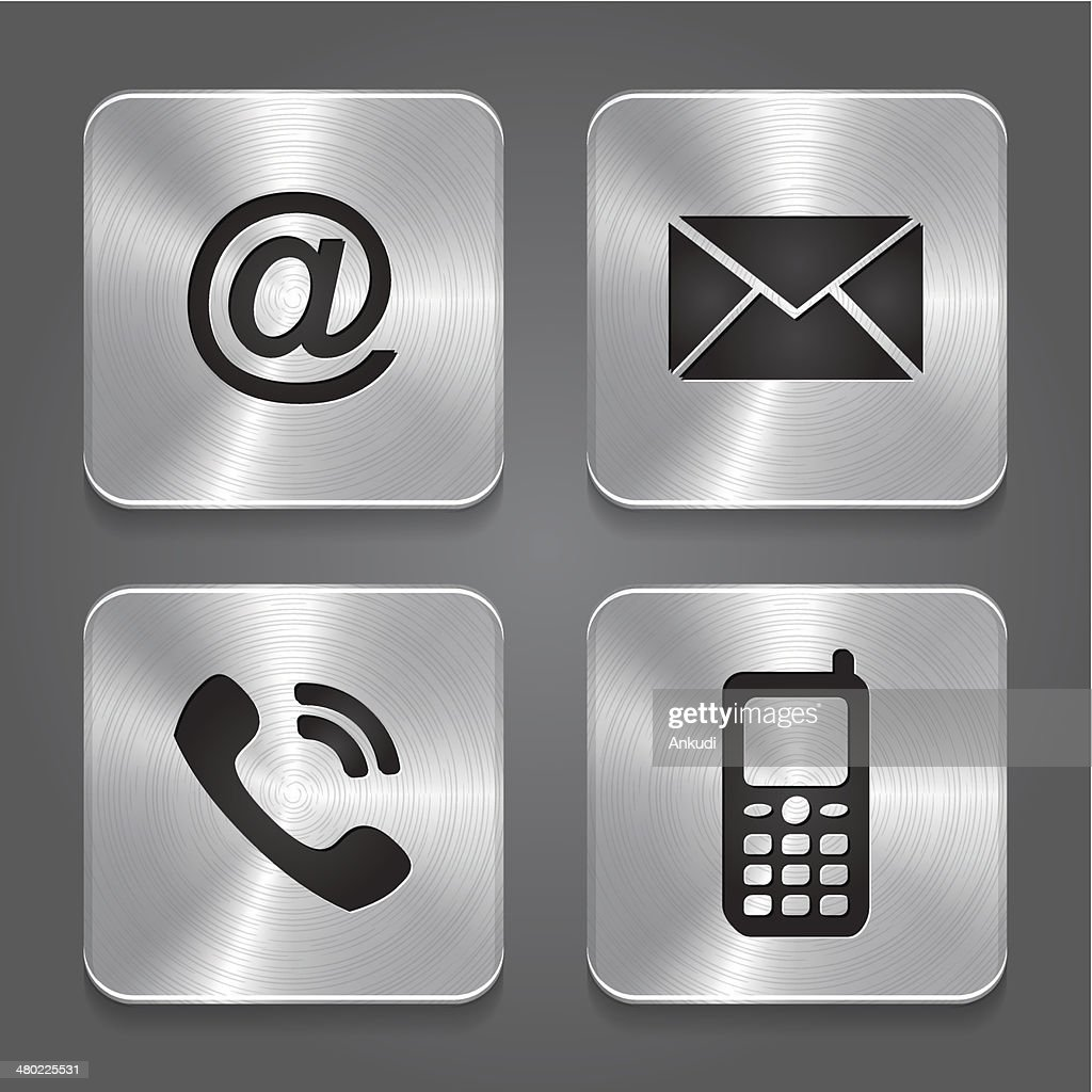 Metal contact buttons - set icons.