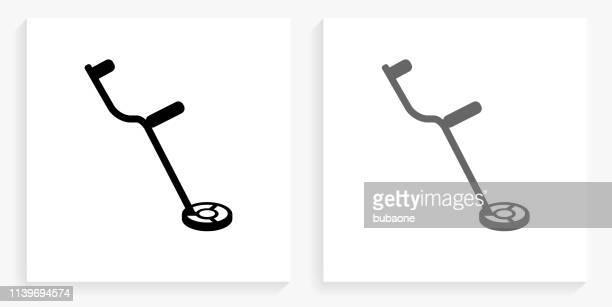 Metal Detector Black and White Square Icon