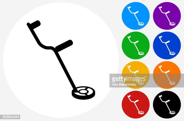 Metal Detector Icon on Flat Color Circle Buttons