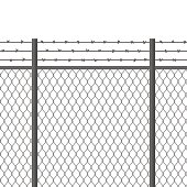 Metal fence with barbed wire. Fortification, secured property, separation concept. Steel construction for danger areas