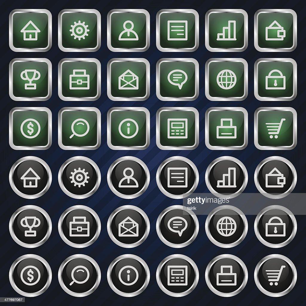 Metal icons set business finance